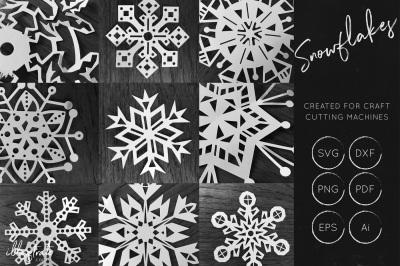 Snowflake SVG Cut File Bundle - Christmas SVG - Snowflakes