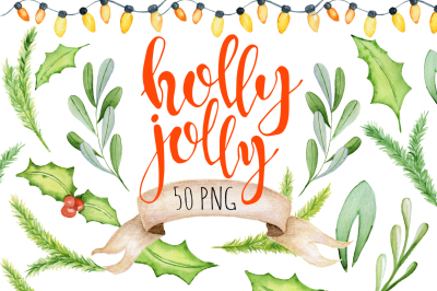 Christmas floral watercolor clipart Holly Jolly