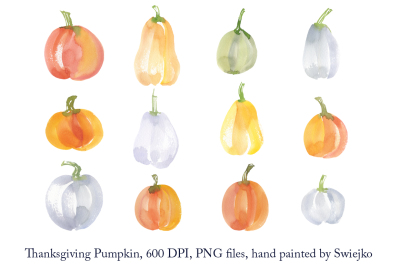 Pumpkin clipart set, watercolor