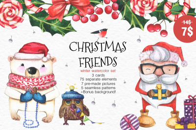 watercolor set CHRISTMAS FRIENDS