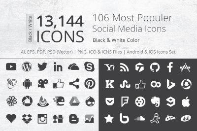 212 B&W Social Media Icons