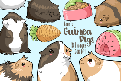 Kawaii Guinea Pigs Clipart