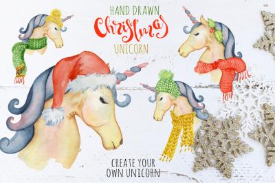 Christmas unicorn watrcolor creator