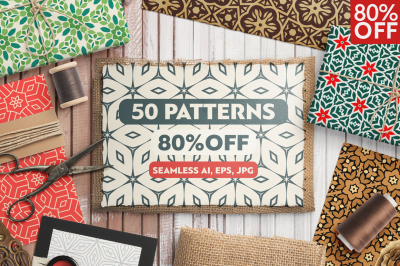 50 Geometric Floral Seamless Patterns