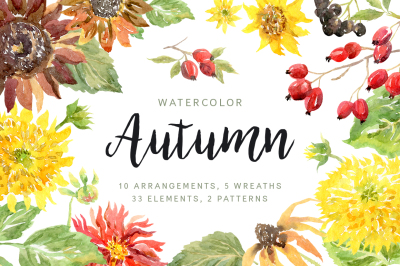 Autumn. Watercolor floral collection