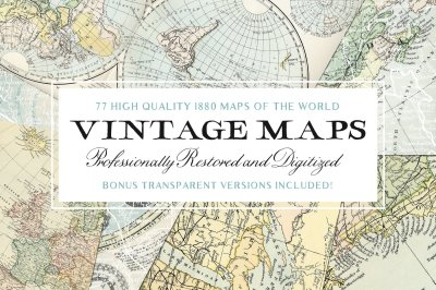 77 Vintage Maps of the World & Bonus
