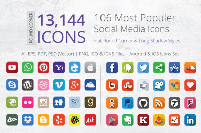 212 Flat Round Corner Social Media Icons