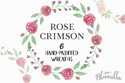 Rose Crimson Hand Painted Watercolor Wreaths Flower Red Pink Pretty Garlands