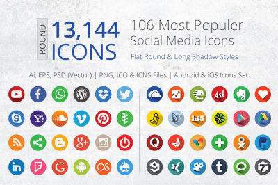 212 Flat Round Social Media Icons
