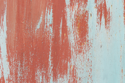 Weathered Red On Blue Rusty Painted Wall Texture. Brush Strokes.