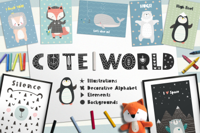 Cute World. Illustrations, alphabet and elements.