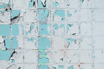 Weathered Blue Painted Tiles Wall Texture. Urban Street Background.