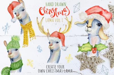 Christmas llama watercolor creator Vol.1