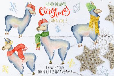 Christmas llama watercolor creator Vol.2