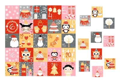 Printable Christmas advent calendar, Countdown numbers cards