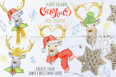 Christmas deer watercolor creator