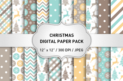 Christmas Digital Paper Pack / Christmas Backgrounds / Christmas Scrapbook Paper