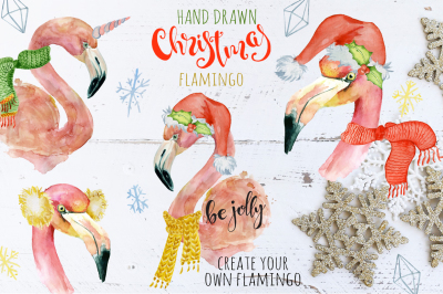 Christmas pink flamingo watercolor creator
