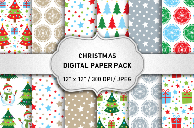 Christmas Digital Paper Pack, Graphics, Pattern, Christmas Backgrounds