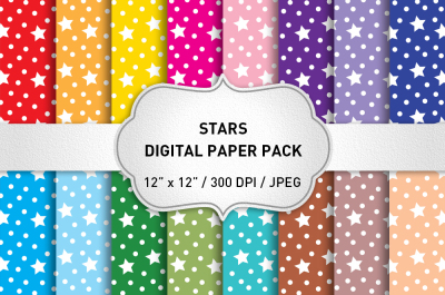Stars Digital Paper Pack / Christmas Digital Paper / Scrapbook Paper