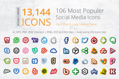 212 Offset Social Media Icons