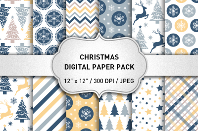 Blue Christmas Digital Paper Pack
