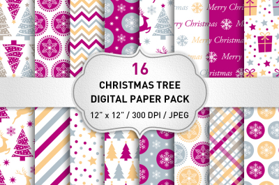 Pink Christmas Digital Paper Pack