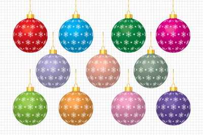 Christmas Balls Clipart / Christmas Graphics and Illustrations / Scrapbooking