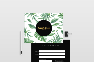 Tropical double sided gift certificate template