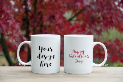2 White mug mock up valentine's day romantic background nature, coffee mug mockup