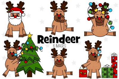 Reindeer Design Elements, Clip Art
