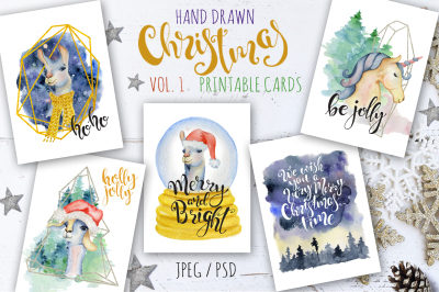 Christmas watercolor cards Vol.1