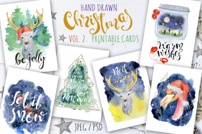 Christmas watercolor cards Vol.2