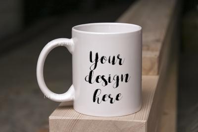 White Coffee Mug Mockup on wood, mug mockups cup template