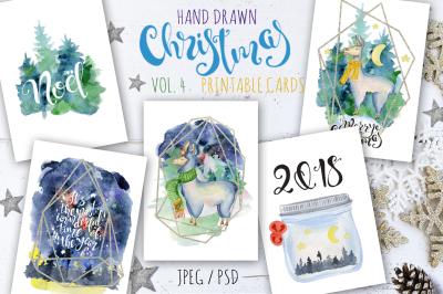 Christmas watercolor cards Vol.4