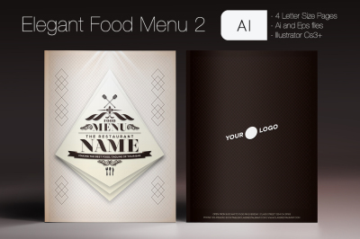 Elegant Food Menu 2 Illustrator Template