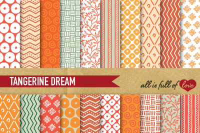 Hand drawn Tangerine Digital Paper Pack: Dream Collection