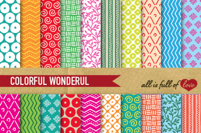 Hand drawn Multicolor Digital Paper Pack: Dream Collection