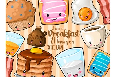 Kawaii Breakfast Clipart