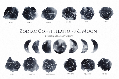Zodiac Constellations & Moon clipart