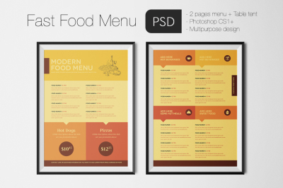 Fast Food Menu Photoshop Template