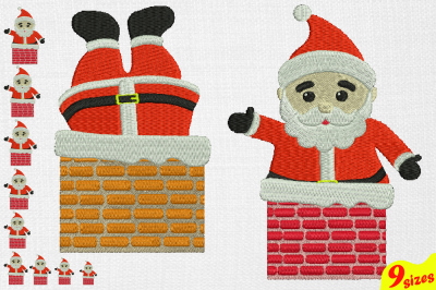 Santa Claus Embroidery Design. Machine Instant Download Commercial Use digital file 4x4 5x7 hoop icon symbol sign Christmas Chimney winter holiday xmas 121b
