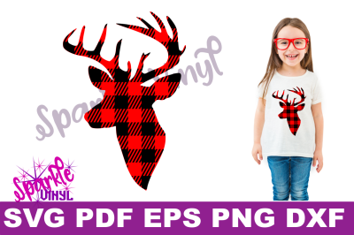Buffalo Plaid Reindeer Deer Head Silhouette Printable svg cut files for silhouette or cricut