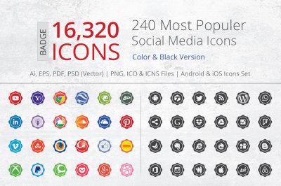 240 Badge Social Media Icons