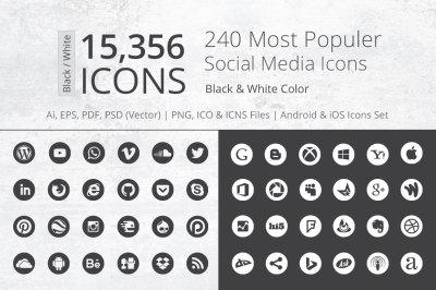 240 Round B&W Social Media Icons