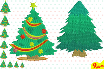 Christmas Tree Embroidery Design. Machine Instant Download Commercial Use digital file 4x4 5x7 hoop icon symbol sign Santa Tree mini xmas winter holiday new year 119b