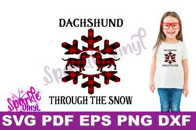 SVG Funny Christmas Winter Dachshund through the snow carol shirt svg files for cricut or silhouette, funny dog dachshund printable