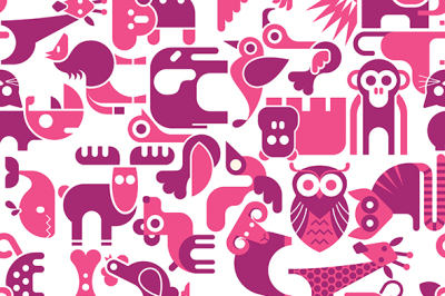 Animal seamless vector background