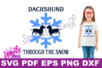 SVG Funny Christmas Winter Dachshund through the snow carol printable with svg files for cricut or silhouette, funny dog dachshund printable