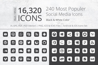 240 Round Corner B&W Social Media Icons